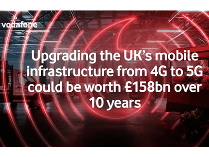 Vodafone predicts £158bn economy boost in switch from 4G to 5G